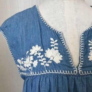 GAP Chambray Peasant Tank With Embroidered Flowers